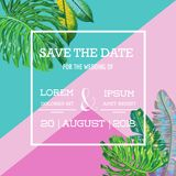 Wedding Invitation Template with Palm Leaves. Tropical Save the Date Card. Summer Botanical Design for Poster, Greetings stock illustration