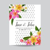 Wedding Invitation Template with Plumeria Flowers. Tropical Floral Save the Date Card. Exotic Flower Romantic Design. Wedding Invitation Template with Pink stock illustration