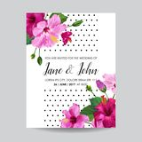 Wedding Invitation Template with Purple Hibiscus Flowers. Save the Date Floral Card for Greetings, Anniversary, Birthday. Botanical Design. Vector illustration Royalty Free Stock Photos