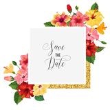 Wedding Invitation Template with Red Hibiscus Flowers and Golden Frame. Save the Date Floral Card for Greetings Stock Image