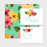 Wedding Invitation Template with Red Hibiscus Flowers. Save the Date Floral Card for Greetings, Anniversary, Birthday. Baby Shower Party. Botanical Design Stock Images
