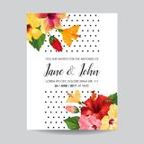 Wedding Invitation Template with Red Hibiscus Flowers. Save the Date Floral Card for Greetings, Anniversary, Birthday Stock Photography