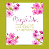 Wedding invitation template with sakura flowers Stock Images