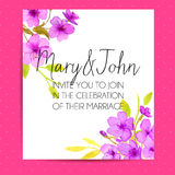 Wedding invitation template with sakura flowers Stock Image