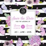 Wedding Invitation Template. Save the Date Card with Butterflies and Hydrangea Flowers. Greeting Floral Postcard Stock Image