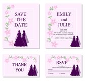 Wedding invitation template set. Beautiful lesbian couple in white wedding dresses and flowers ornament. Same-sex family. Gay marriage. For wedding invitation royalty free illustration