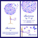 Wedding invitation template set with butterflies in blue color Royalty Free Stock Image