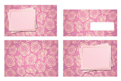 Wedding invitation template set and envelope Royalty Free Stock Photos