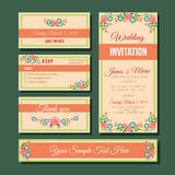 Wedding invitation template. Set of invitation wedding. file in eps 10 file, with no gradient meshes, blends ,opacity, stroke path,brushes. Also all elements Stock Photography