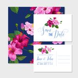 Wedding Invitation Template Set with Purple Hibiscus Flowers. Save the Date Floral Card for Greetings, Anniversary. Birthday. Botanical Design. Vector Stock Photography