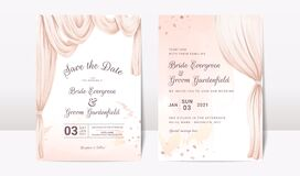 Free Wedding Invitation Template Set With Watercolor Arch And Abstract Decoration. Elegant Card Design Concept Royalty Free Stock Images - 195245579