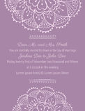 Wedding invitation. Template on tender violet background with handdrawn flowers Royalty Free Stock Photography