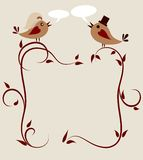 Wedding invitation template, two birds Stock Image