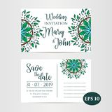Vintage Wedding Invitation template. Vector illustration love graphic Royalty Free Stock Images