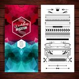 Vector illustration of Wedding invitation text over abstract background. Wedding invitation text and date over abstract red and blue shapes beside icons and stock illustration