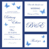 Wedding invitation, thank you card, save the date cards. Royalty Free Stock Photo