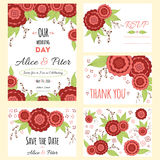 Wedding invitation, thank you card, save the date cards. Wedding set. RSVP card Stock Image