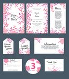 Wedding invitation card template. Wedding invitation, thank you, save the date, menu, information, RSVP, label, table number and stock illustration