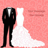 Wedding invitation with a tuxedo and dress. Wedding invitation with a tuxedo and dress on an abstract background. Bride and groom. Vector illustration Stock Photos
