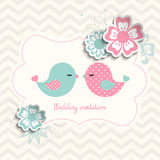 Wedding invitation with two birds and flowers, illustration Stock Photo