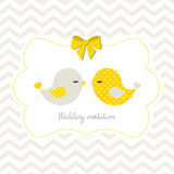 Wedding invitation with two cute birds, illustration Stock Images
