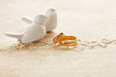 Wedding invitation. Two wedding rings and wedding invitation Stock Photo