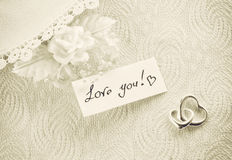 Wedding invitation, valentine day concept, sepia toned card Royalty Free Stock Photography
