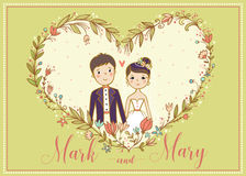 Wedding invitation. Vector card with a lovely young couple. Royalty Free Stock Images