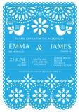 Wedding invitation vector card template - Mexican folk Papel Picado style Stock Photography