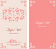 Wedding invitation vintage card with floral and antique decorative elements. Stock Images