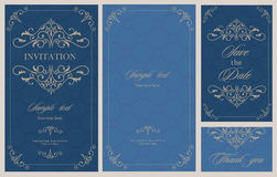 Wedding invitation vintage card with floral and antique decorative elements. Stock Image