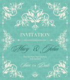 Wedding invitation vintage card with floral and antique decorative elements. Vector illustration Royalty Free Stock Images