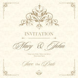 Wedding invitation vintage card with floral and antique decorative elements. Vector illustration Stock Photo