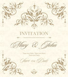 Wedding invitation vintage card with floral and antique decorative elements. Vector illustration Stock Photos