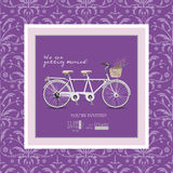 Wedding invitation in vintage style and lilac shades. Bike - a tandem with a basket of lavender. Royalty Free Stock Photos