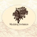 Wedding invitation in vintage style with tree Stock Photography