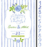 Wedding invitation.Watercolor blue flower,strips Royalty Free Stock Image