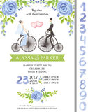 Wedding invitation.Watercolor blue flowers,numbers Stock Image