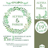 Wedding invitation with watercolor brunches wreath Royalty Free Stock Photos