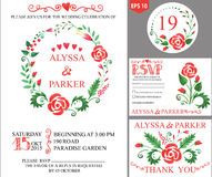 Wedding invitation with watercolor floral wreath Royalty Free Stock Photos
