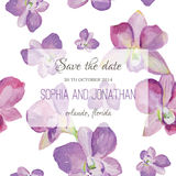 Wedding invitation watercolor with orchid flowers. Stock Images