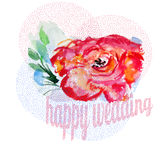Wedding invITATION WITH WATERCOLOR ROSE. PINK Stock Photography
