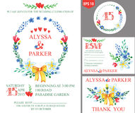Wedding invitation with watercolor spring  floral wreath decor Stock Images