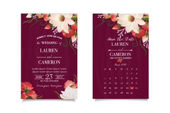 Wedding invitation. Watercolor spring flowers. Save the date. Wedding concept Stock Photo