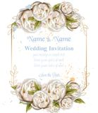 Wedding invitation watercolor white peonies card Vector. Beautiful floral decors. Wedding invitation watercolor white peonies card Vector. Beautiful floral decor vector illustration