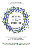 Wedding invitation.Watercolor wreath.Blue berries, branches Royalty Free Stock Photo