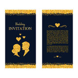 Wedding invitation. Wedding card with gold shimmer. Save the dat. E. Vector illustration Royalty Free Stock Photography