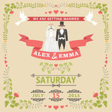 Wedding invitation with wedding clothes and floral frame Royalty Free Stock Photography