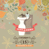 Wedding invitation.Wedding wear,autumn leaves Stock Images