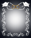 Wedding Invitation white doves. 3D Illustration for Wedding invitation, Frame, Valentine or Invitation Background with gold linked hearts, white ribbons and royalty free illustration